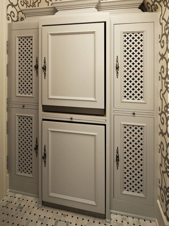 Hendel Homes - laundry/mud rooms - hidden washer and dryer, hidden, hidden stacked washer and dryer, chic laundry room, gray laundry room, c... #graylaundryrooms Hendel Homes - laundry/mud rooms - hidden washer and dryer, hidden, hidden stacked washer and dryer, chic laundry room, gray laundry room, c... #graylaundryrooms