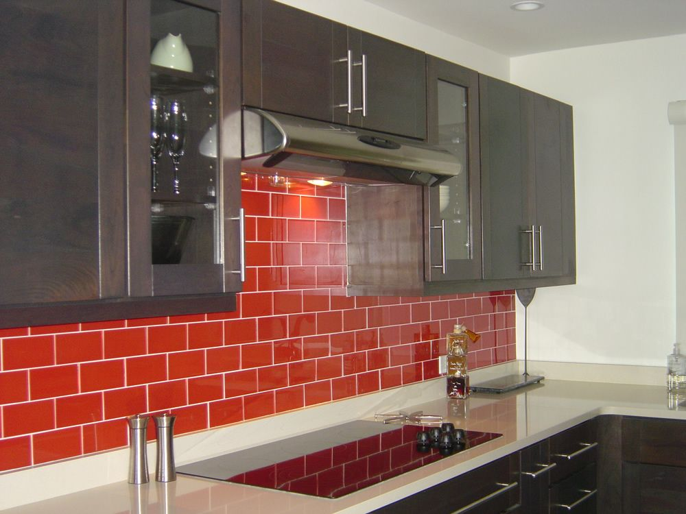 Kitchen Nice Red Backsplash With Tile Ceramic And Residential Cabinet