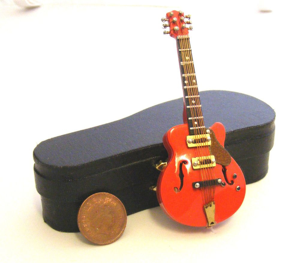 1:12th Scale Red Gibson Guitar + Black Case Doll House Miniature Instrument 572  | eBay