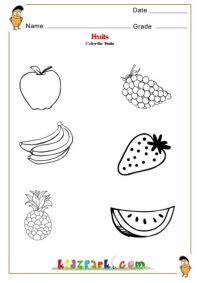 Worksheet Color Word Worksheets Forindergarten Fruits And ...
