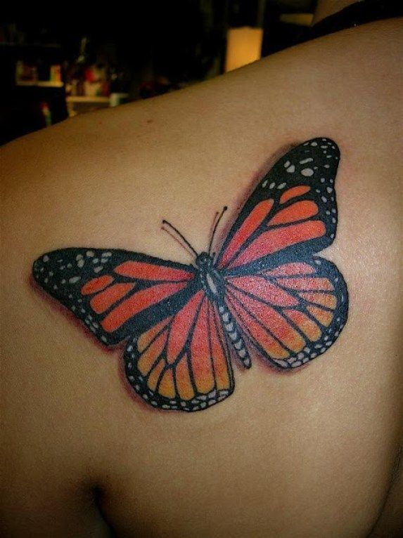 f72d45e91 Groovy Red Black And Yellow Color Ink 3D Butterfly Tattoo On Girl's Back