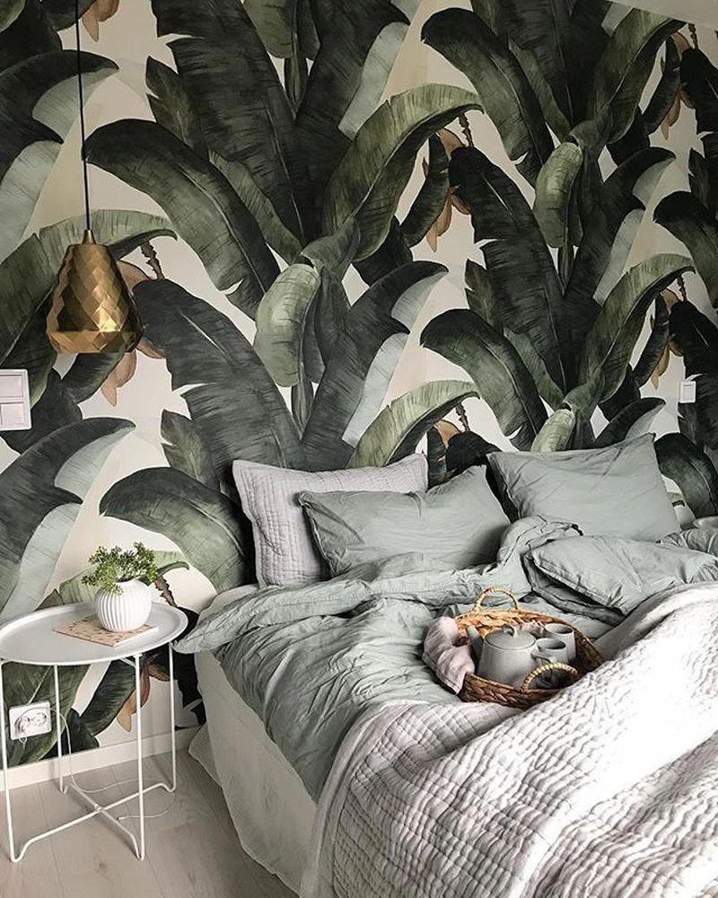Photo of Banana Leaves Tropical Wallpaper Mural #tropicalbedroom