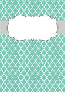 blank binder cover teal quatrefoil printables pinterest