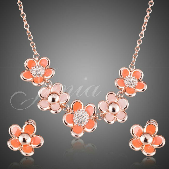 Jenia Rose Gold Color Rhinestone Flower Metal Necklace and Earrings