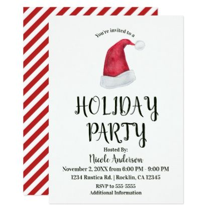 Christmas Holiday Party Red Santa Hat  Stripes Card - kids birthday