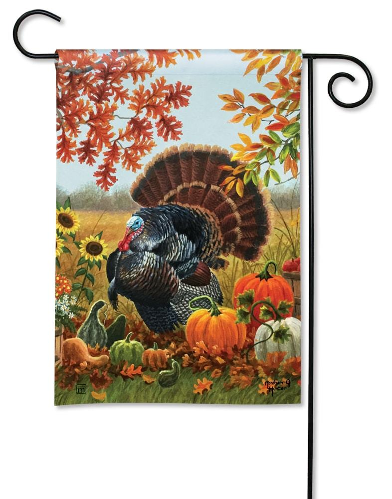 "Give Thanks Turkey Burlap House Flag Thanksgiving 28/"" x 40/"" Briarwood Lane"