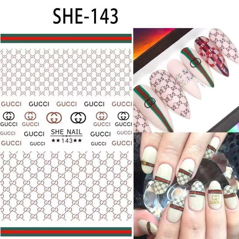 LOTS 5 PCS! Designer Inspired Nail Decal Stickers