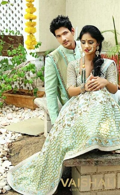 Coordinated Bride And Groom In Mint Lehenga And Sherwani Indian