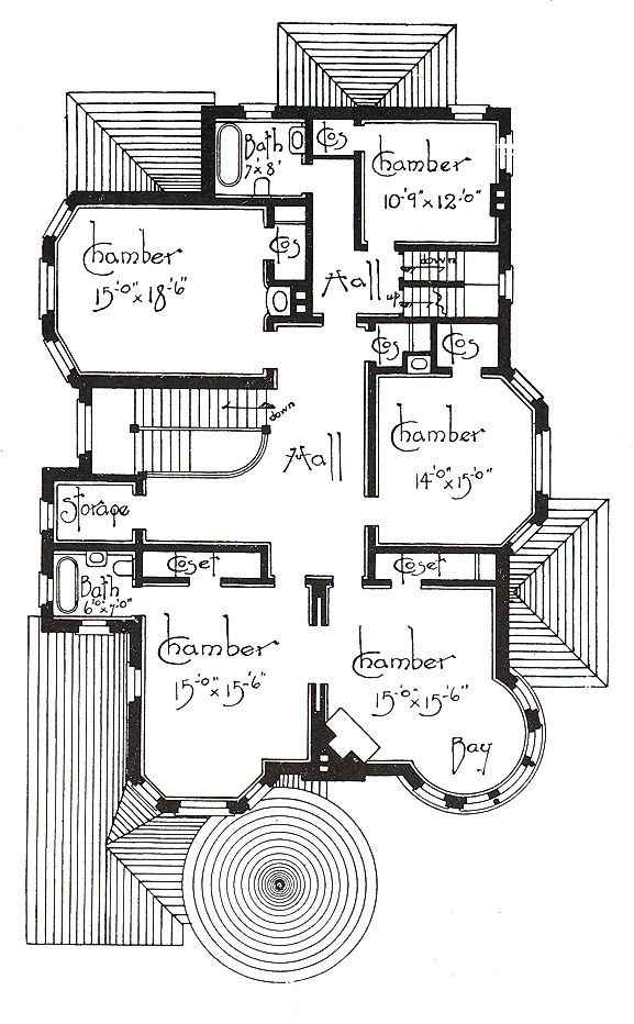 Manor House Drawing: George F. Barber Victorian 2nd Floor (I Love A Tower