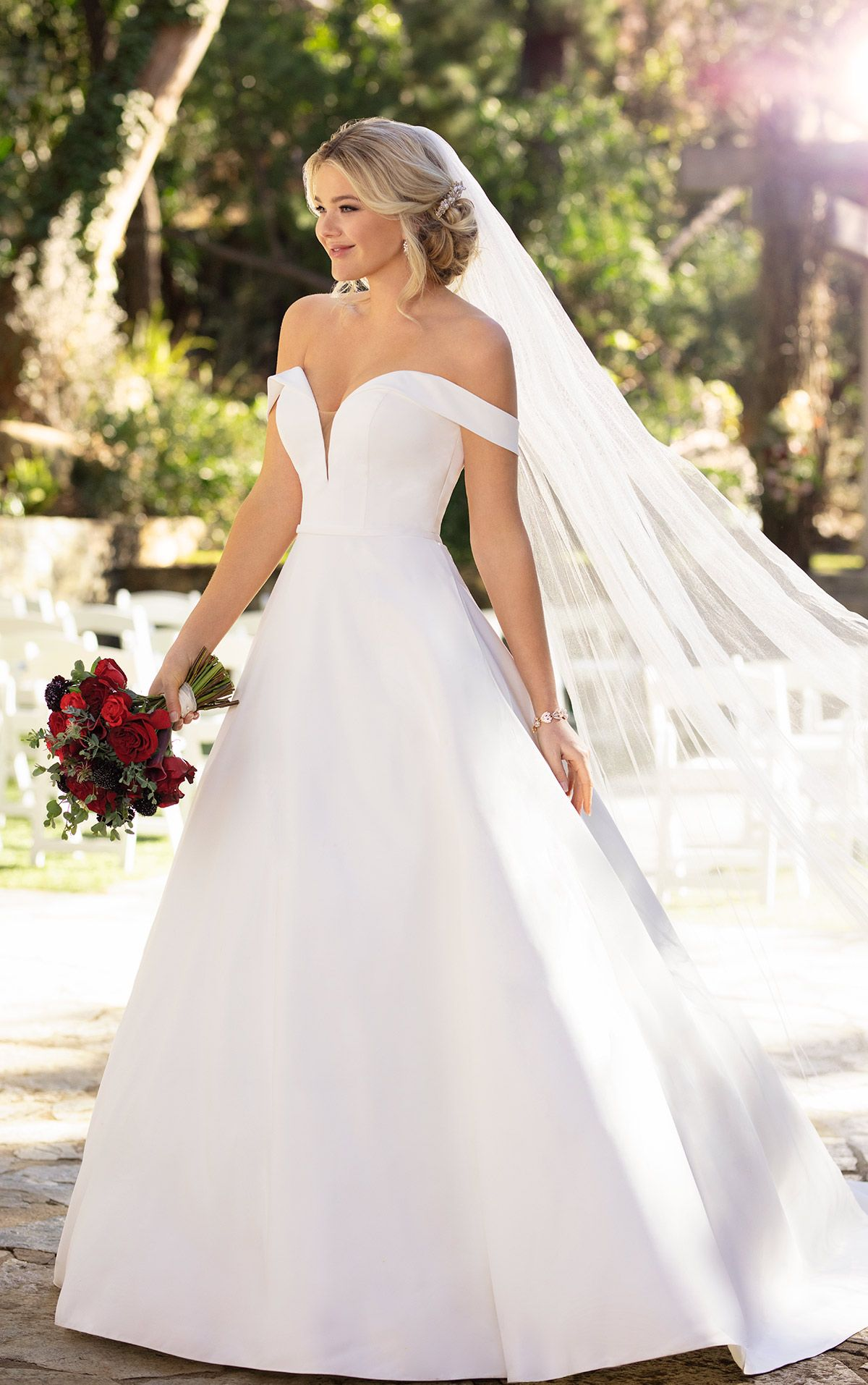 Classic Satin Ballgown with Pockets and OfftheShoulder