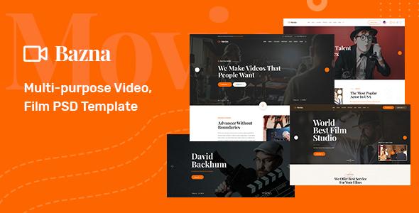Bazna Multipurpose Film Maker Video Psd Template Html5 Templates Film Film Studio