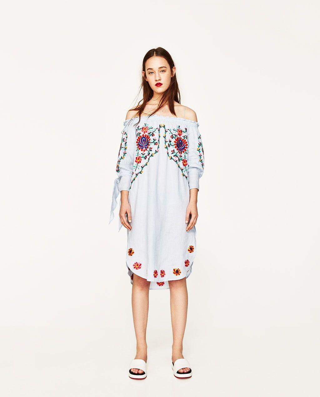 Imagen 1 de VESTIDO LINO BORDADO FLORES de Zara | Style | Pinterest ...