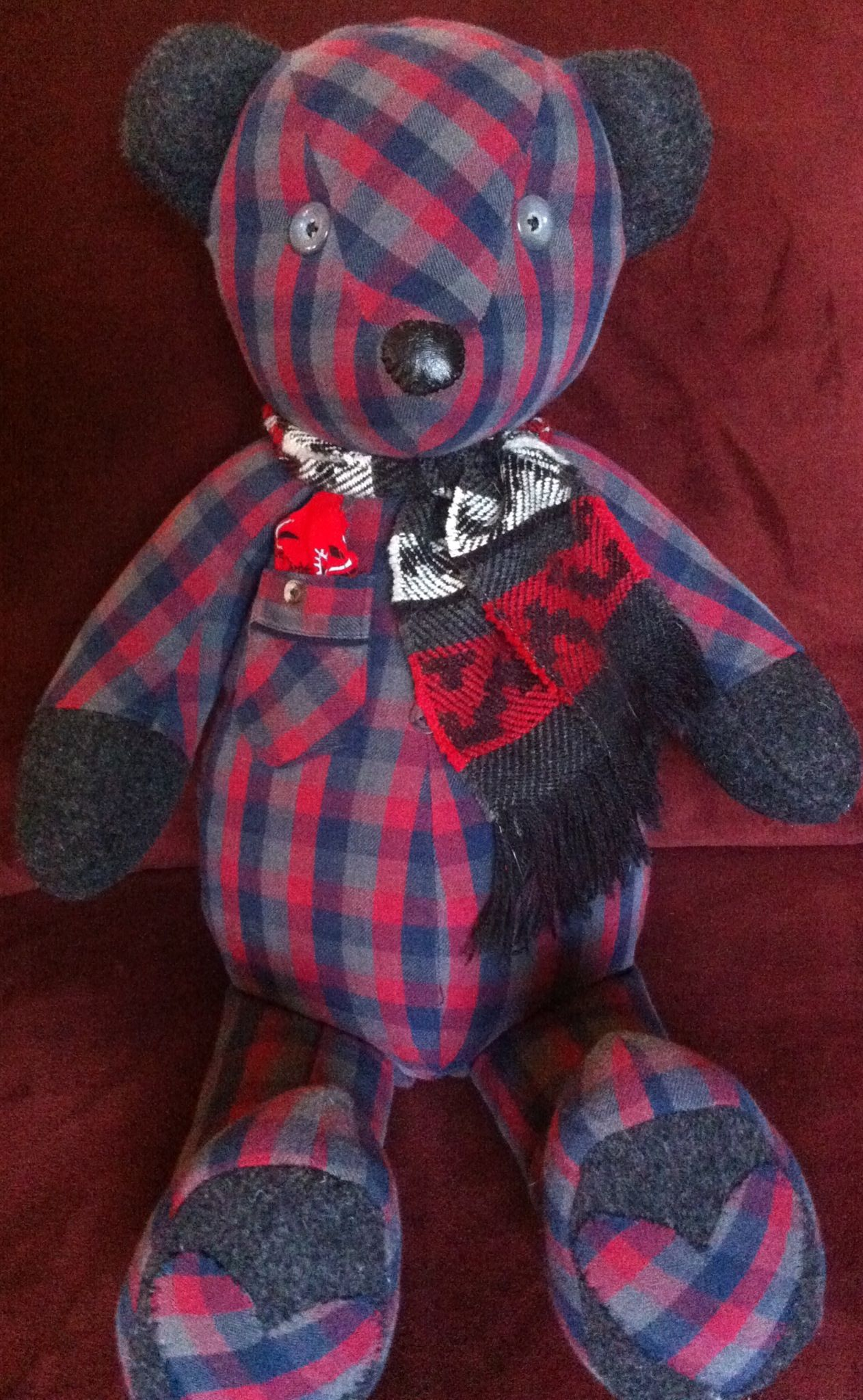 Ready for winter memory bear, made from flannel pajamas and a wool coat, downsized the scarf. www.teddyangels.com