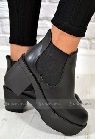 Women's Fashion Chunky Heels Ankle High Chelsea Boots