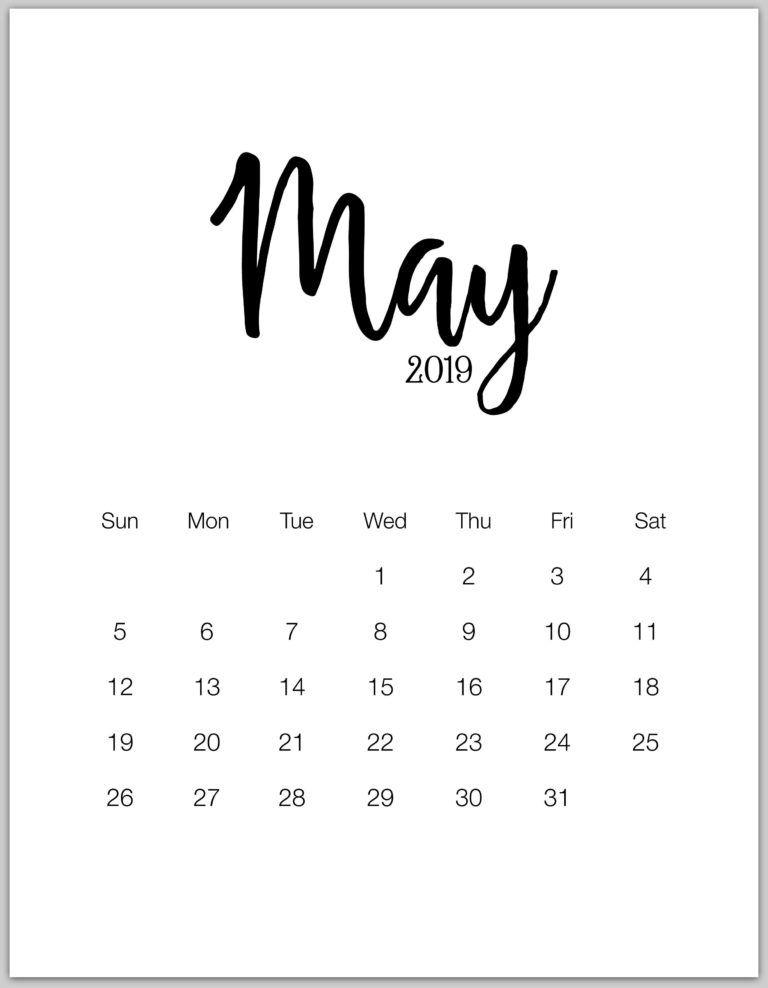 2019 Minimalist Printable Calendar From January To