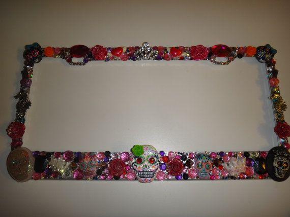 Decoden license plate frame KAWAII cute lots of by LittleRetroKids, $36.99 DIA DE LOS MUERTOS LICENSE FRAME