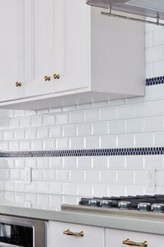 Kitchen Backsplash White Subway Tile With Blue Accent Tiles