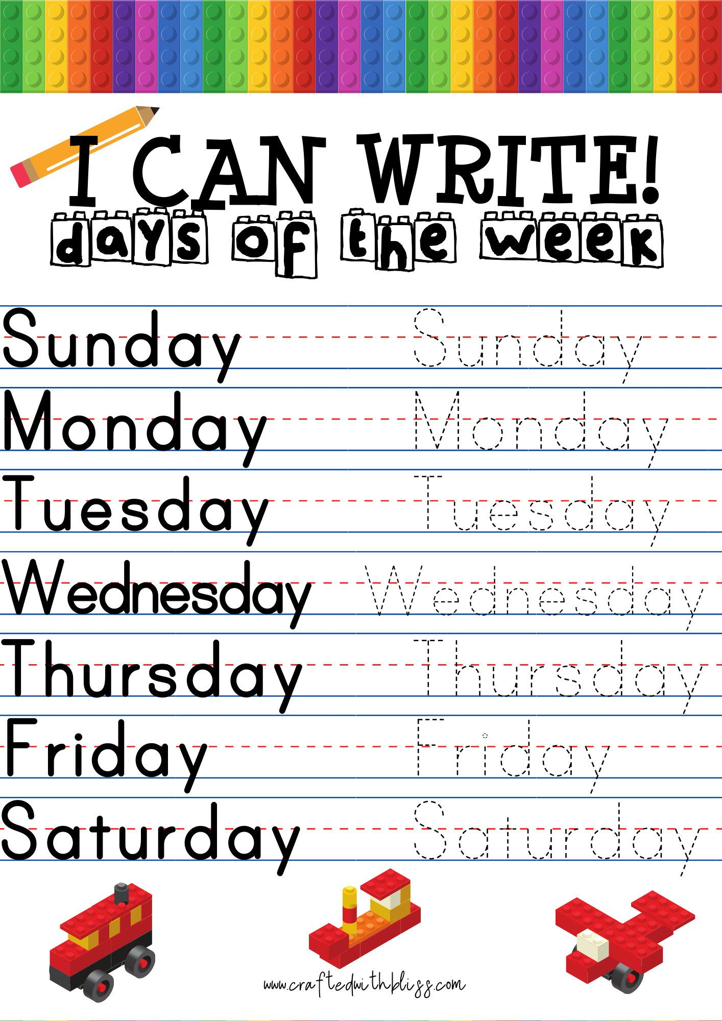 I Can Write Days Of The Week Months Of The Year Alphabet