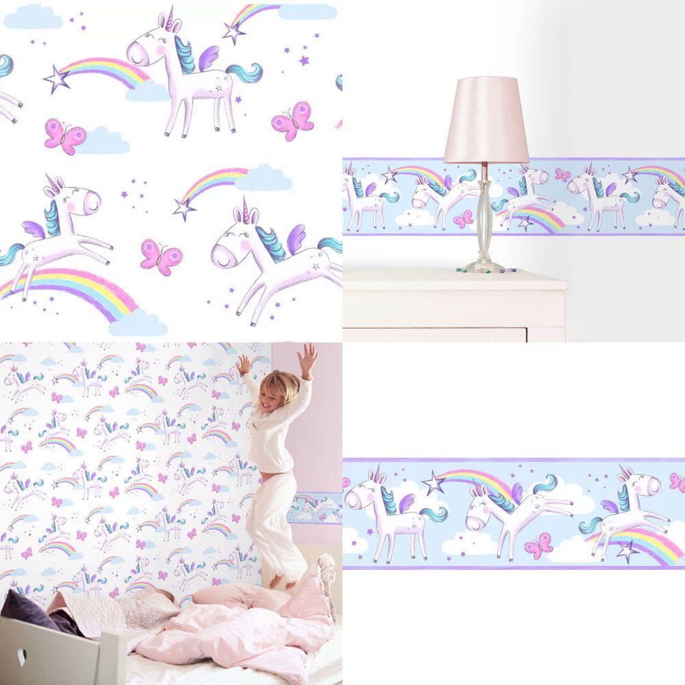 Rainbow Unicorn Pink Pony Childrens Girls Feature Wallpaper