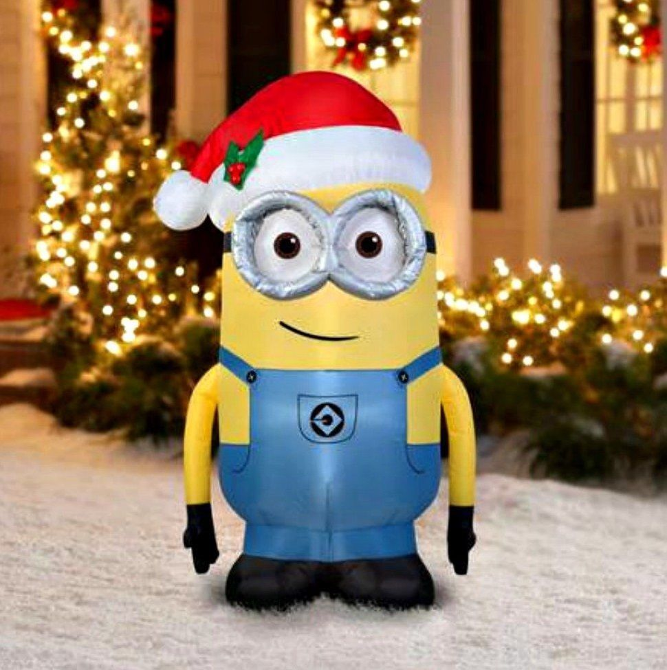 inflatable christmas decorations despicable me minion lighting airblown outdoor minion dave inflatable christmas yard decor inflatable stands 5 foot - Minion Outdoor Christmas Decorations