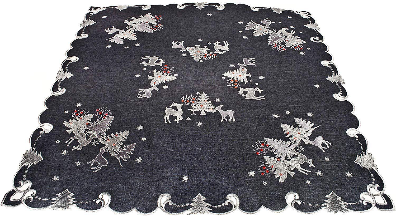 Square Table Topper Christmas Table Linen Christmas Reindeer