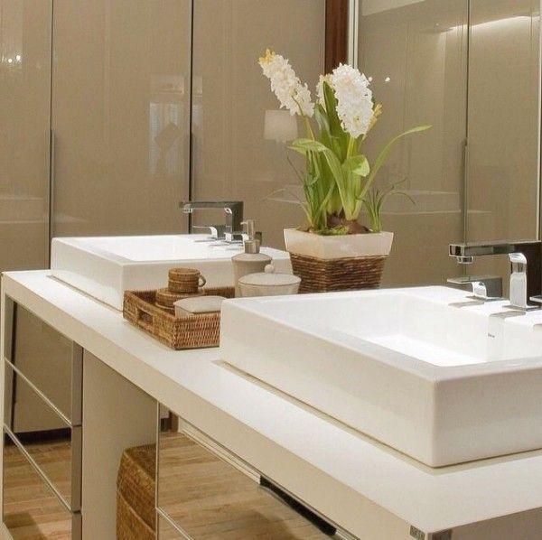 Banheiros Decorados Com Duas Cubas : Banheiros de casal com duas cubas na bancada cuba
