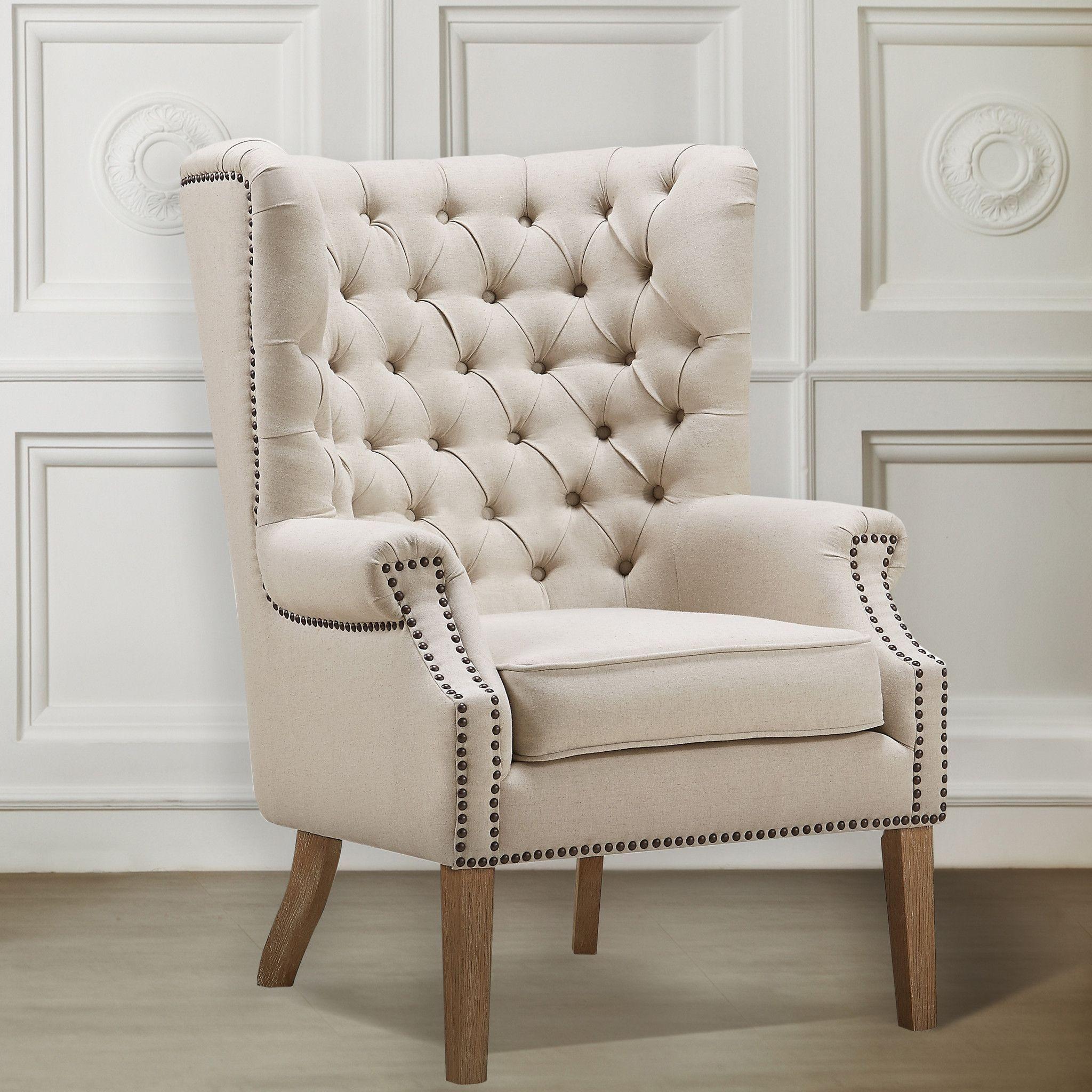 Best Tov Furniture Modern Abe Beige Linen Wing Chair Tov A2041 640 x 480