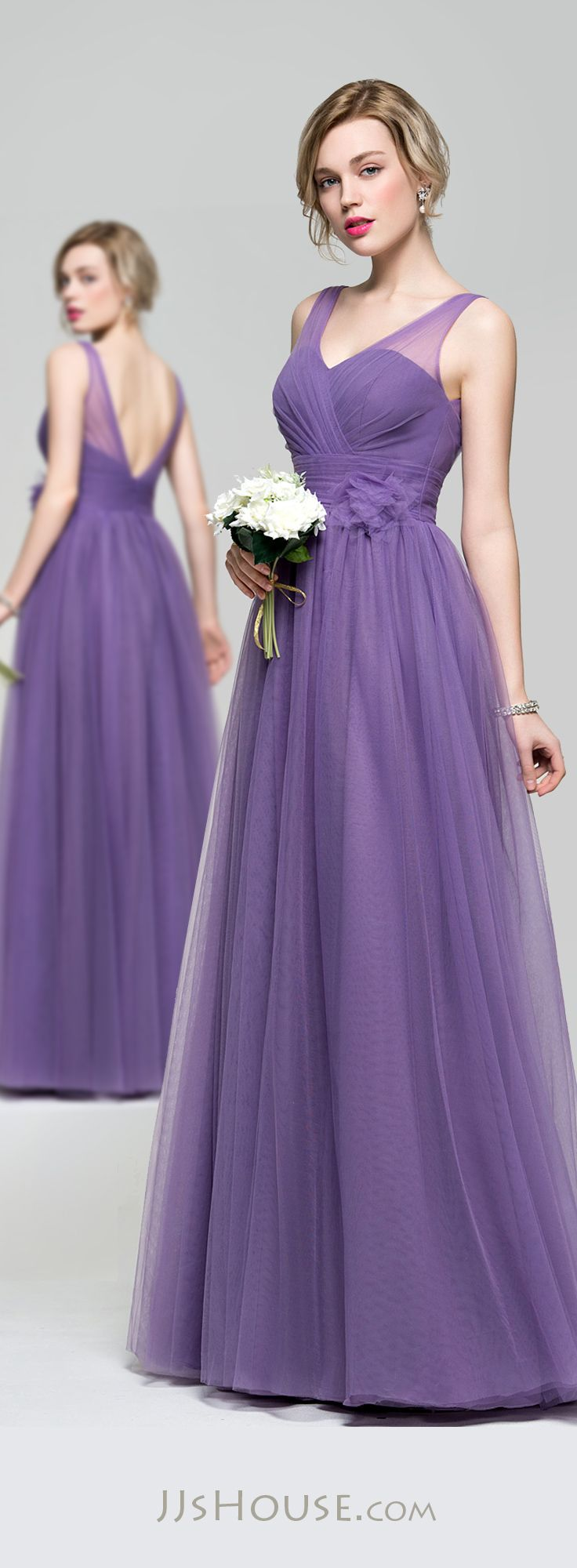 A-Line/Princess V-neck Floor-Length Tulle Bridesmaid Dress With ...