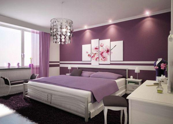 romantische schlafzimmer geschmeidiges design in lila magnolie - Romantisches Schlafzimmer
