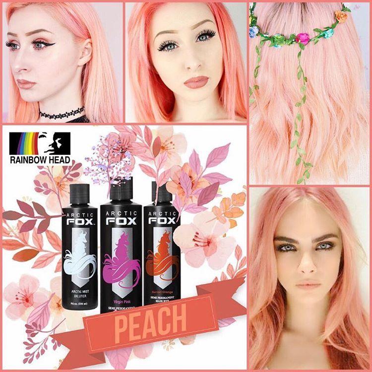 Get The Perfect Peach Colored Hair Using Arctic Fox Hair Colors Www Rainbowheadph Com 4oz Arctic Fox Hair Color Hair Color Pastel Peach Hair Colors