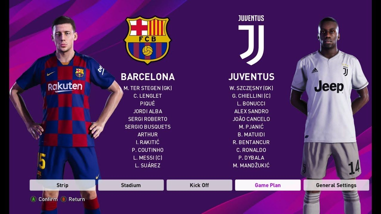 Pes 2020 Juventus Vs Barcelona Gameplay Hd Ronaldo Vs Messi Messi Vs Ronaldo Messi Ronaldo
