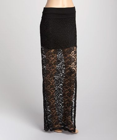 Look what I found on #zulily! Black Lace Midi Skirt - Women by Brokedown #zulilyfinds