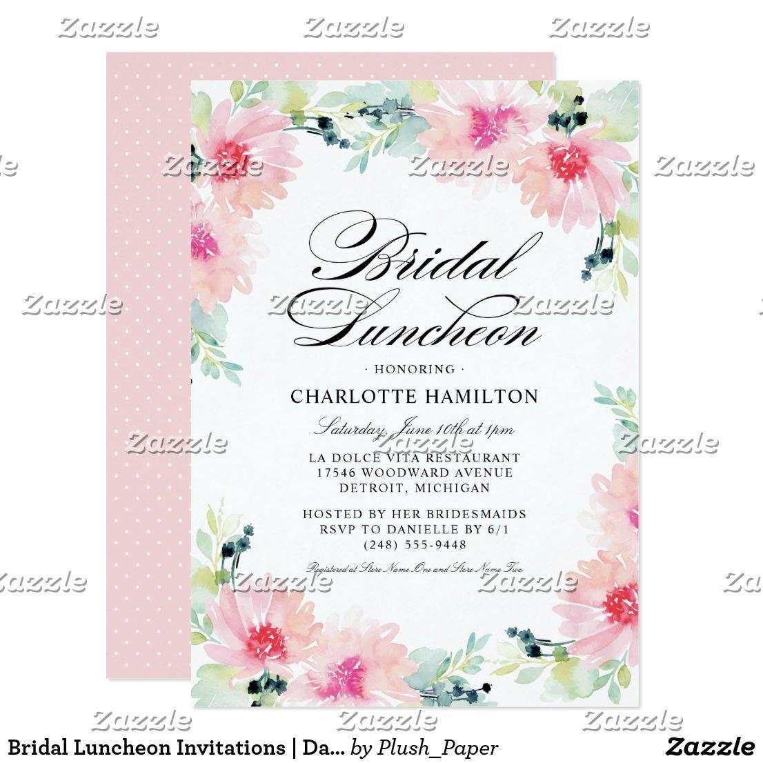 daisy floral watercolor bridal luncheon invitation wedding