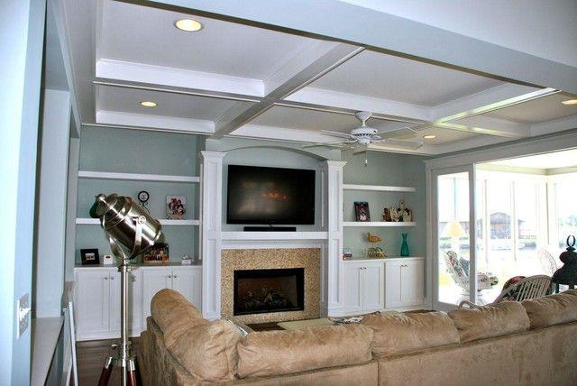 Shelves around fireplace | Craftsman home interiors ...