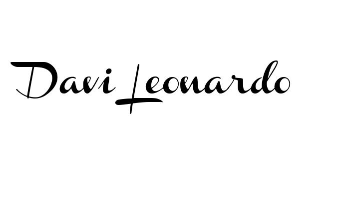 Tatuagem do nome Davi Leonardo  utilizando o estilo Channel Slanted Regular