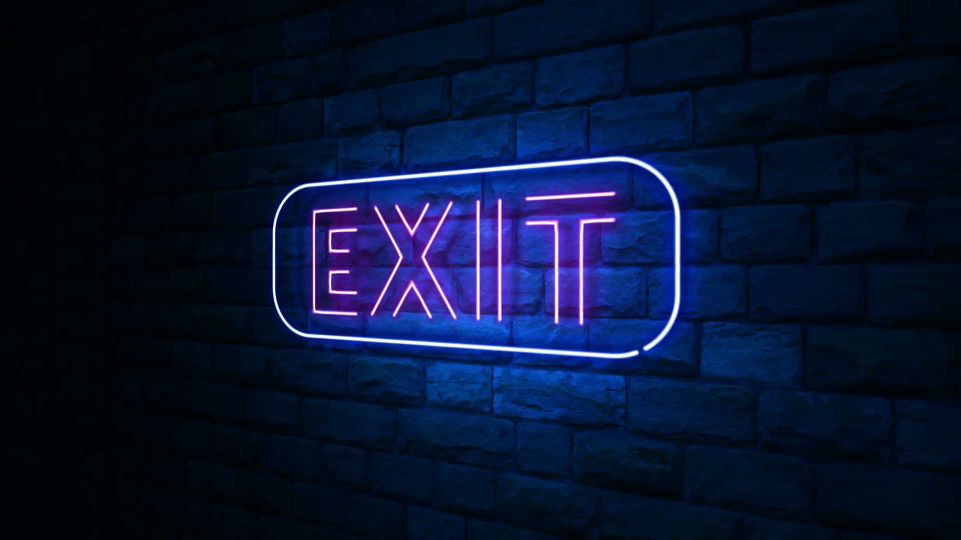 Animation of exit neon light sign at urban wall in the night