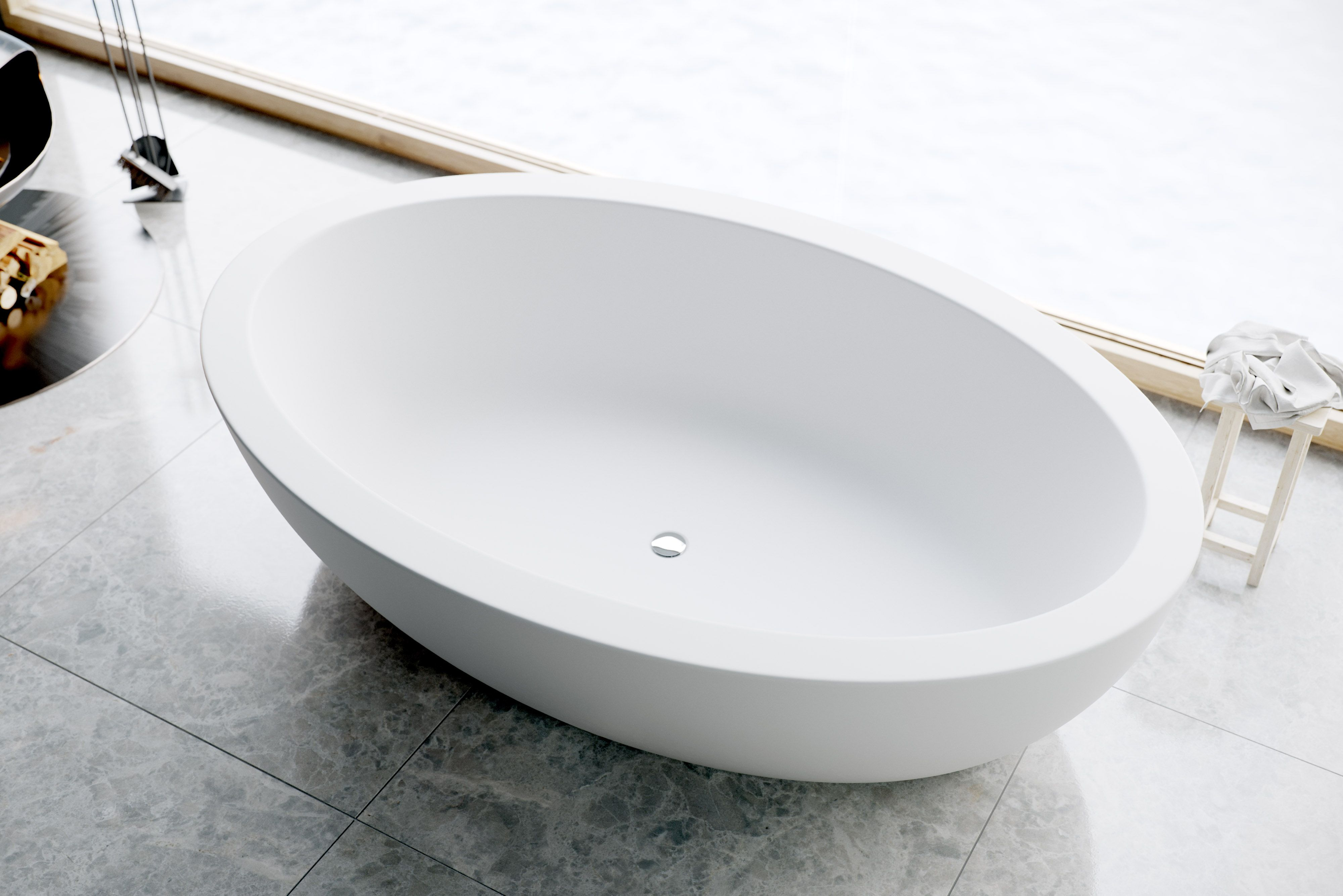 CORDELIA high end freestanding bathtub. 75\'\' with wide-edge bold ...