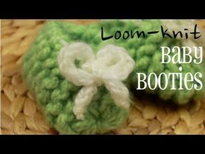 Loom Knit - ▶ Easy Loom-knit Baby Booties on 12 peg Flower Loom! - From Caring Caps on YouTube.