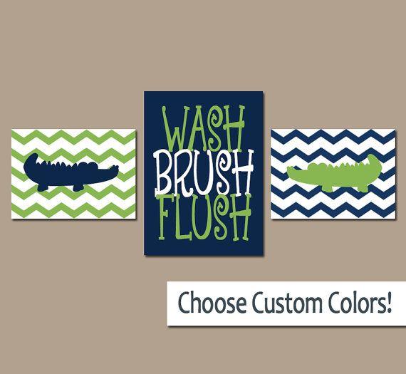 ALLIGATOR Bathroom Wall Art, Canvas Or Prints Crocodile Boy Bathroom Navy  Blue Green Wash Brush
