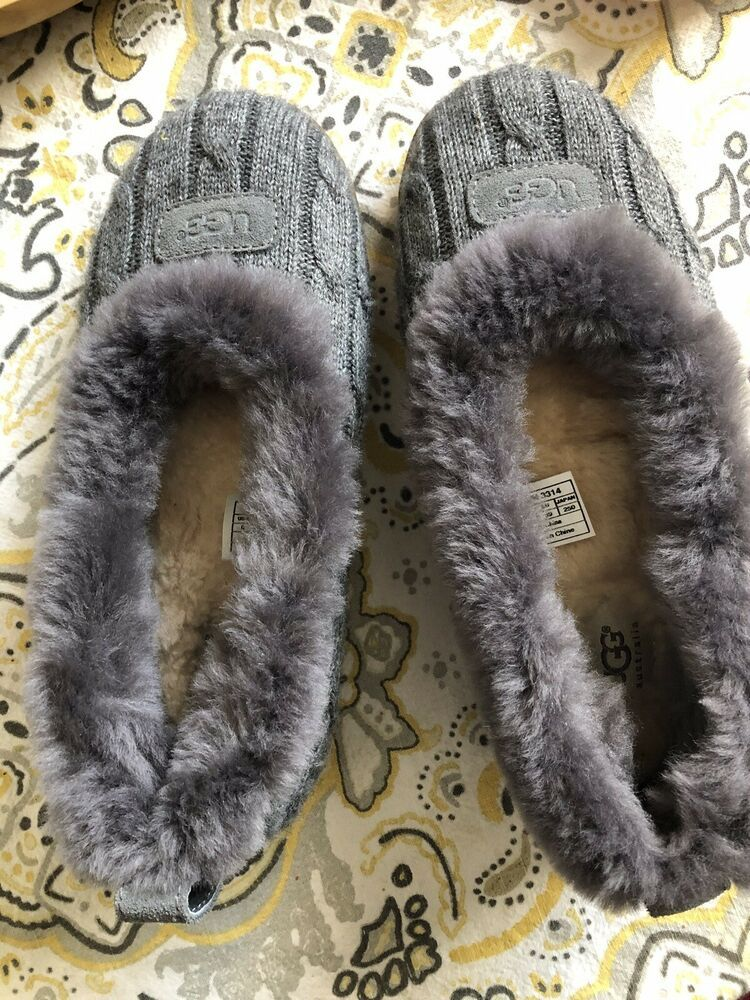 eb6414bc6a7 UGG Australia Heather Shearling Lined Women's Slippers Gray Cable ...