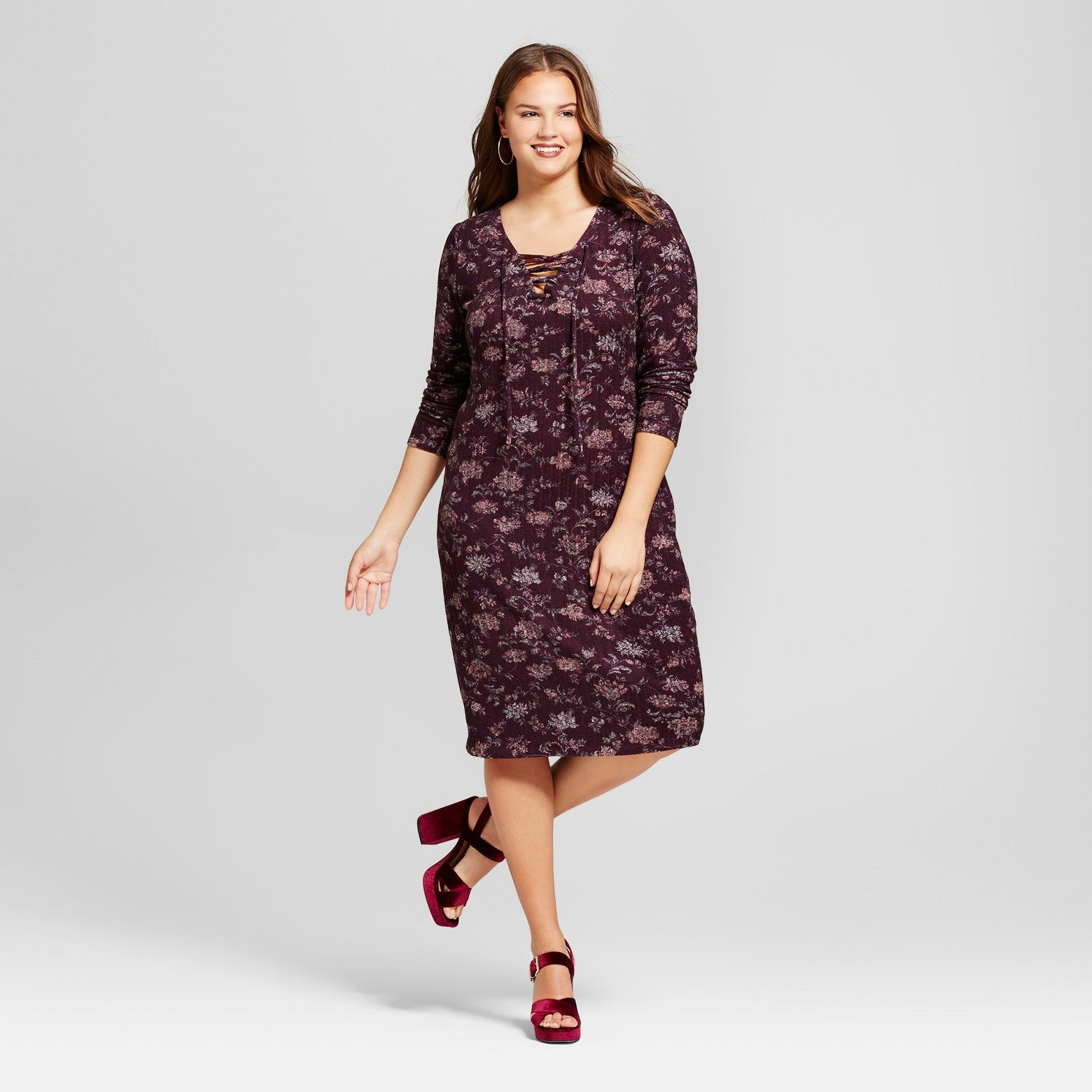 aaaf1fa107e Women s Plus Size Cozy Floral Print Lace Up Dress - Xhilaration™   Target