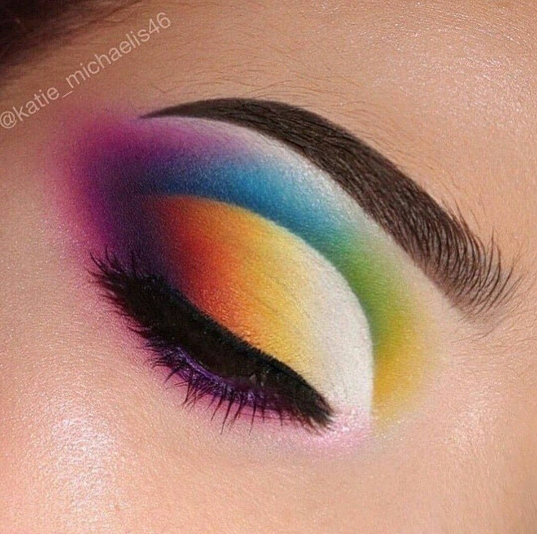 Rainbow eye makeup look