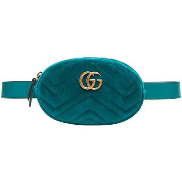 629b74f5ed2 Gucci Blue Velvet GG Marmont Matelassé Belt Bag ( 930) ❤ liked on Polyvore  featuring bags