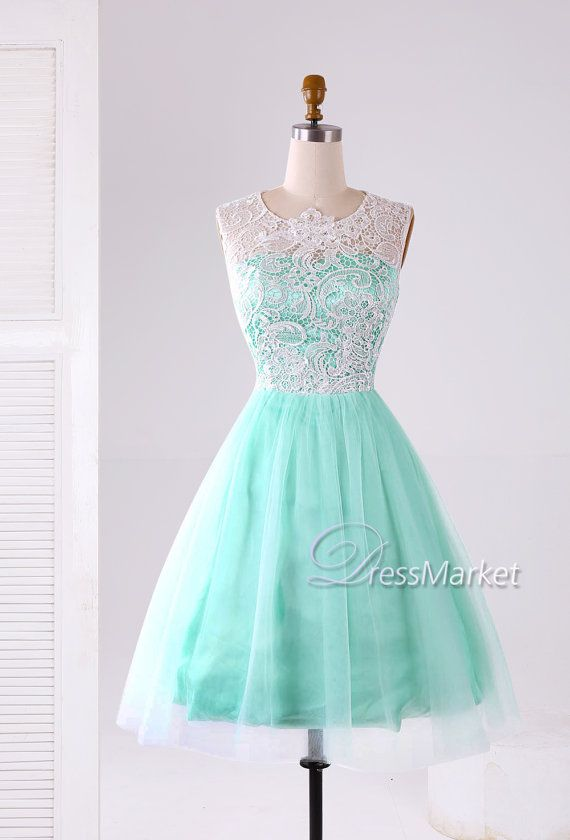 Mint green short lace and tulle prom dressLace and by DressMarket ...