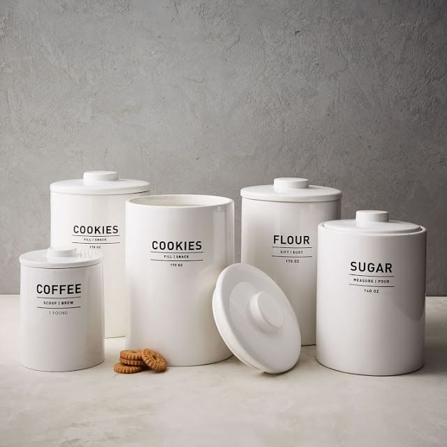 Modern Farmhouse Kitchen Canisters. White Or Black Options