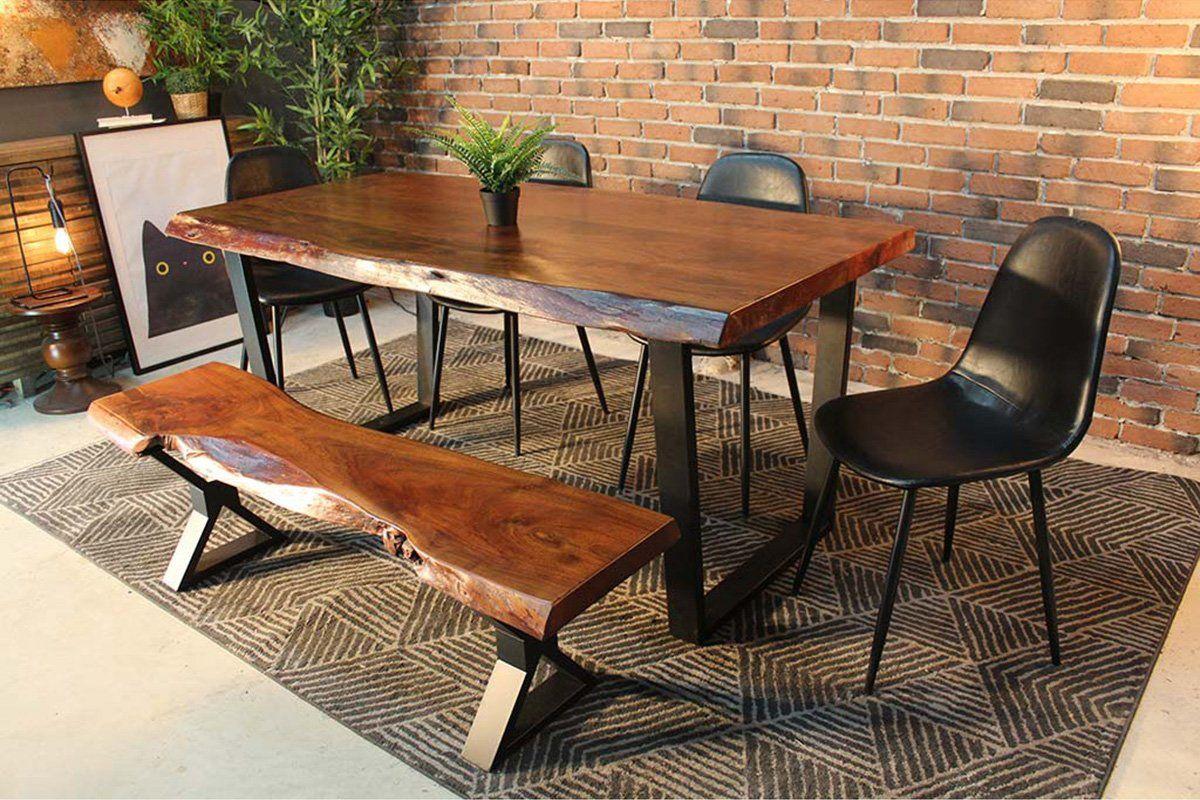 Live Edge Acacia Dining Table With Black U Legs Honey Walnut