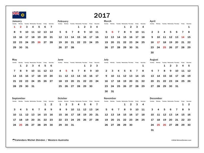 free calendar 2017 to print