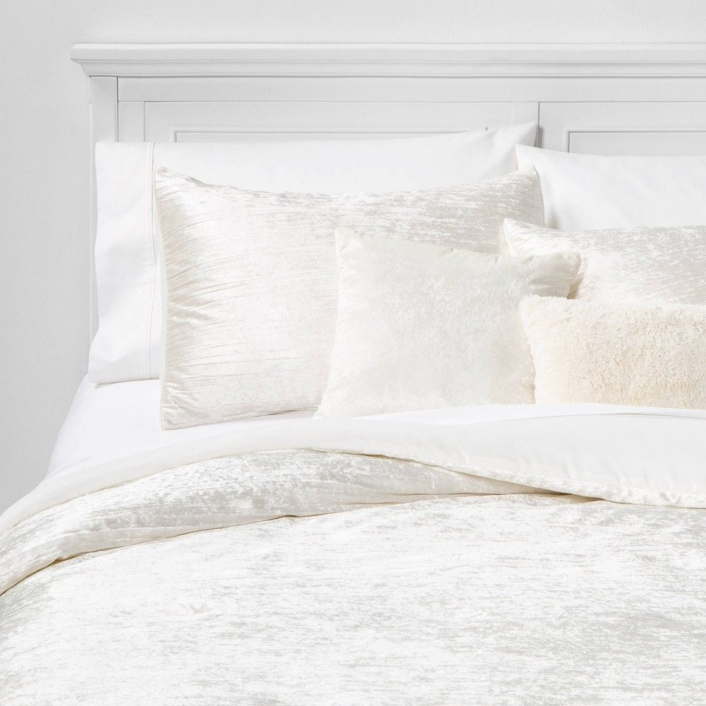 Twin Twin Extra Long Cortina Crinkle Velvet 4pc Bed Set Ivory In