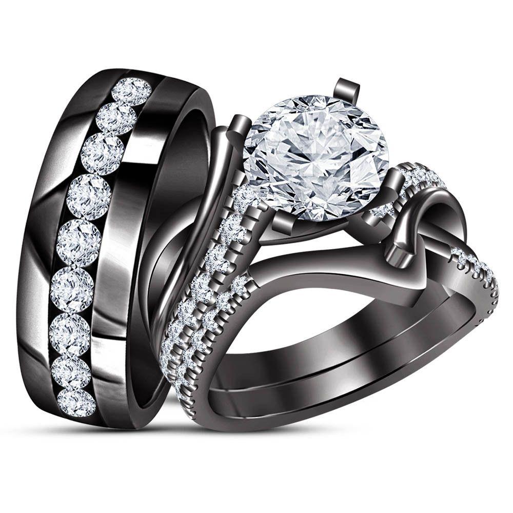 Diamond Engagement Ring Wedding Band Trio Set Black Gold
