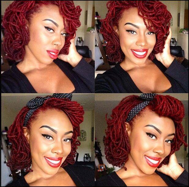 Pretty red lipstick locs